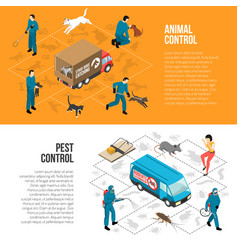 Animal control isometric horizontal banners vector