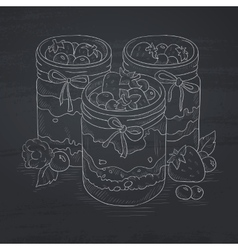 Assorted jams in glass jars vector image