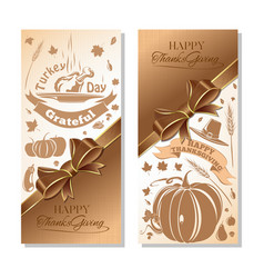 banner set for thanksgiving day vector image