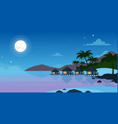 Beautiful night sea beach vector