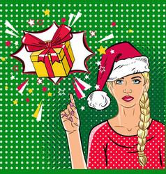 Beautiful woman in santa claus hat in the pop art vector