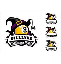 Billiard 9 ball halloween hat logo vector