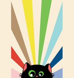 Black cat face with rays vector