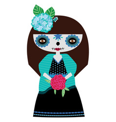 Blue catrina doll vector