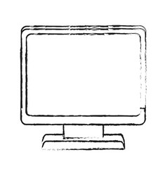 Blurred silhouette cartoon front view computer vector