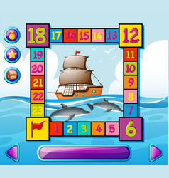 boardgame template with ship and dolphin at sea vector image