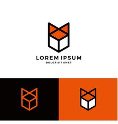 box fox cube geometric logo download line art vector image