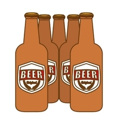 Brown bottles of beer icon image vector
