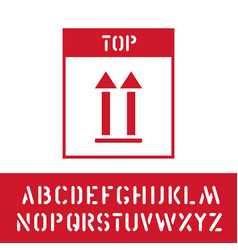 cargo this way up stamp with cargo alphabet for vector image