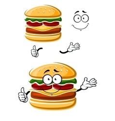 Cartoon happy cheeseburger with thumb up vector