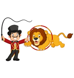 Cartoon lion jumping through ring vector