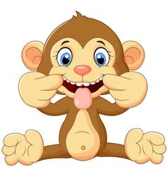 Cartoon monkey holding banana fruit vector