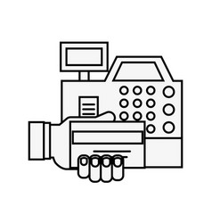 cash register hand with bank card online shopping vector image