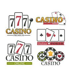 casino and poker logotype set premium game logo vector image