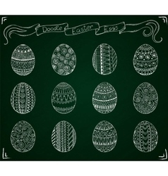 Chalk doodle Easter set with eggs vector