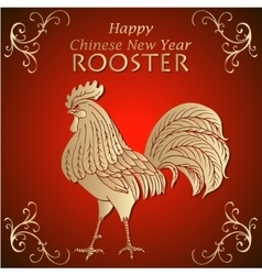 Chinece New Year congratulations card with Rooster vector image