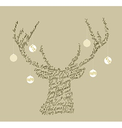 Christmas text shape reindeer bauble composition vector image