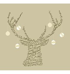 Christmas text shape reindeer bauble composition vector