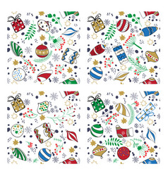 colored handdrown christmas toys seamless pattern vector image