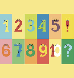 Colorful funny numbers from one to ten with eyes vector