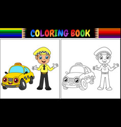 Coloring book with taxi driver cartoon vector