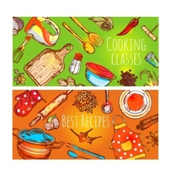 Cooking Classes Banners Set vector
