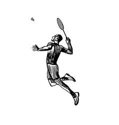 Creative sketch silhouette badminton player vector