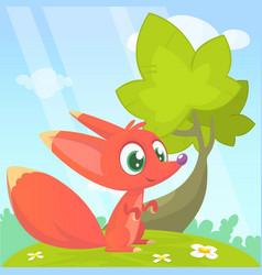 Cute cartoon fox character vector
