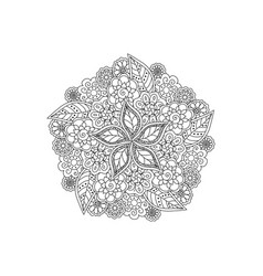 Deco black floral mandala patterned design vector