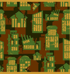 Destroyed buildings seamless military pattern vector