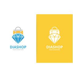 diamond and shop logo combination jewelry vector image