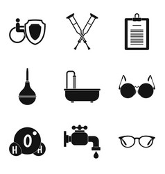 disabled health care icons set simple style vector image