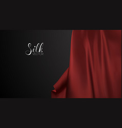 Fashion advertising red silk on black background vector