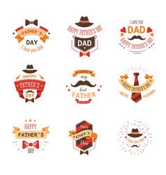 fathers day isolated icon mustache and hat tie and vector image