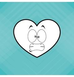Flat of cartoon face design heart vector