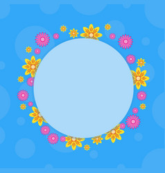 Frame with flower on blue backgrounds vector