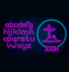 Glowing neon tropical island in ocean icon vector