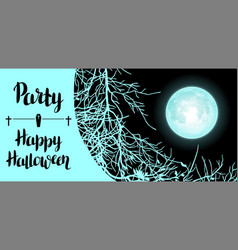 Halloween background with moon and tree branches vector