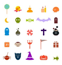 Halloween flat icons set vector