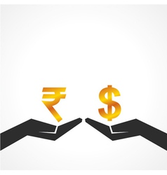 Hand hold dollar and rupee symbol to compare vector