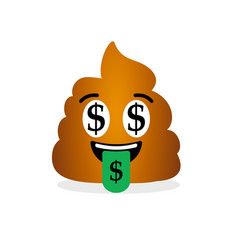 happy and rich poop emoticon with dollar signs vector image