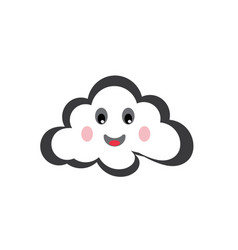 happy clouds smile for logo design fine weather vector image