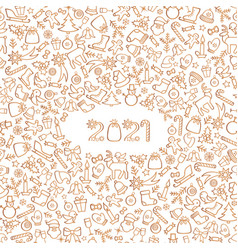 happy new year 2021 snow winter holiday white vector image