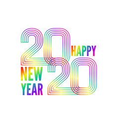 happy new year poster colorful gradient lines vector image