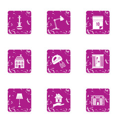 Home epoch icons set grunge style vector