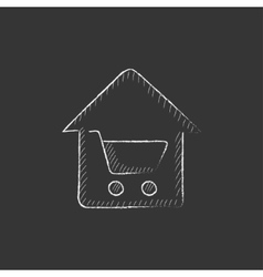 House shopping Drawn in chalk icon vector