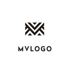 initials monogram mv vm logo vector image