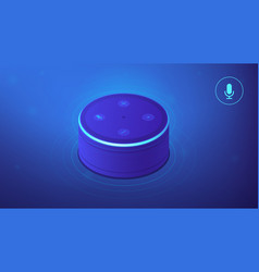 isometric voice controlled smart speaker vector image