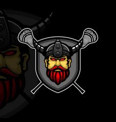 Lacrosse mascot viking logo design vector