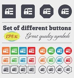 Lock login icon sign Big set of colorful diverse vector
